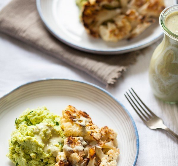 Cauliflower-Steaks-Over-Garlicky-Edamame-Mash